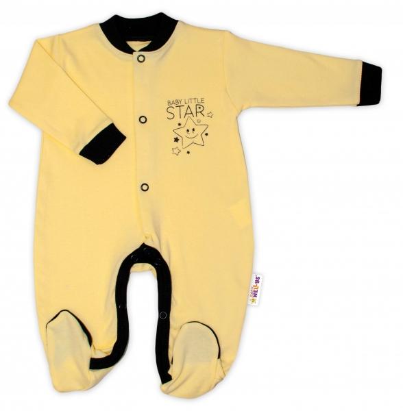 Baby Nellys Bavlněný overálek Baby Little Star - žlutý, vel. 80