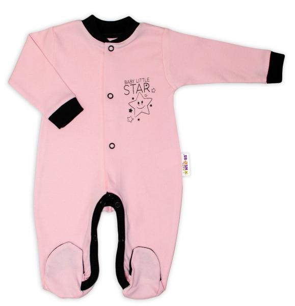 Baby Nellys Bavlněný overálek Baby Little Star - růžový, vel. 74