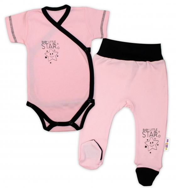 Baby Nellys 2-dílná sada body kr. rukáv + polodupačky, růžová - Baby Little Star, vel. 56