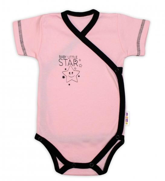 Baby Nellys 2-dílná sada body kr. rukáv + polodupačky, růžová - Baby Little Star, vel. 68