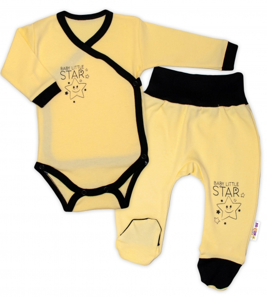 Baby Nellys 2-dílná sada body dl. rukáv + polodupačky, žlutá - Baby Little Star