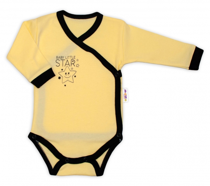 Baby Nellys 2-dílná sada body dl. rukáv + polodupačky, žlutá - Baby Little Star, vel. 56
