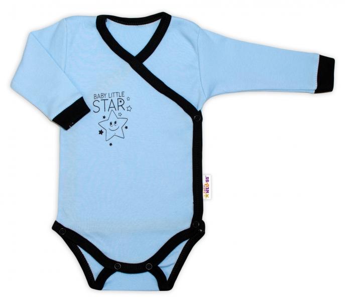 Baby Nellys 2-dílná sada body dl. rukáv + polodupačky, modrá - Baby Little Star, Velikost: 50 (0-1m)