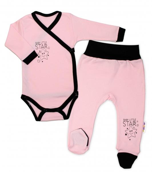 Baby Nellys 2-dílná sada body dl. rukáv + polodupačky, růžová - Baby Little Starvel. 50 (0-1m)
