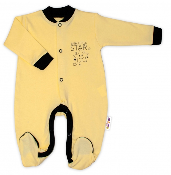 Baby Nellys Bavlněný overálek Baby Little Star - žlutý, Velikost: 50 (0-1m)