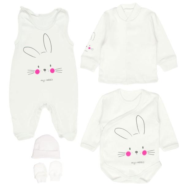 MBaby Soupravička do porodnice 5D - My Rabbit, bílá
