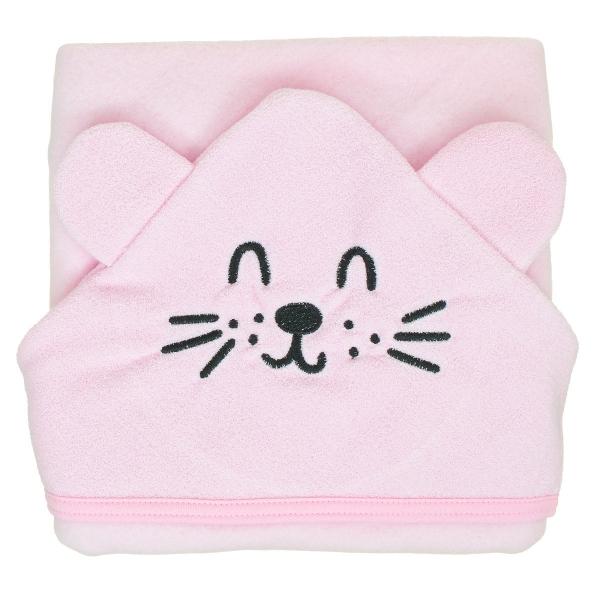 MBaby Bavlněná osuška s kapucí 80 x 80 cm - Tuleň, růžová