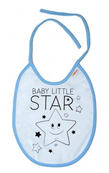 Nepromokavý bryndáček Baby Nellys velký Baby Little Star, 24 x 23 cm - sv. modrá