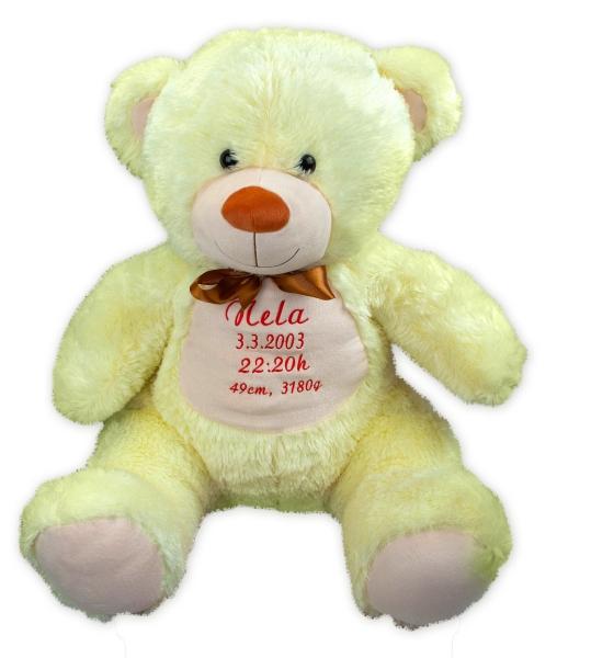 Baby Nellys Plyšový medvěd 100 cm s výšivkou na přání - citronek