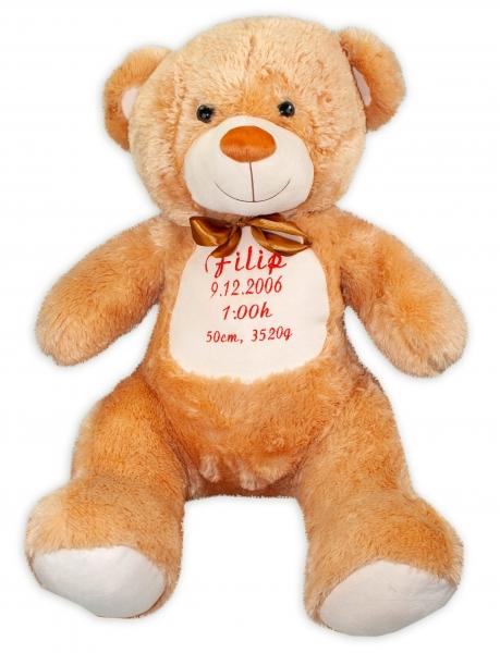 Baby Nellys Plyšový medvěd 100 cm s výšivkou na přání - sv. hnědý