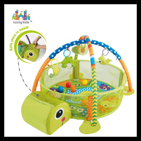 Vzdělávací hrací deka s 30 míčky Konig Kids - Želva
