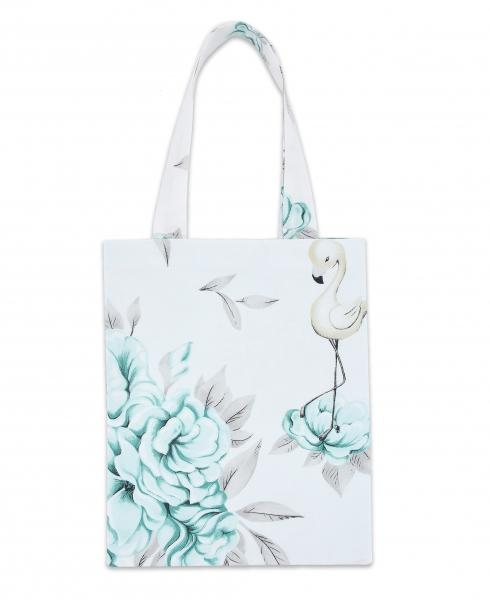 Bavlněná taška Baby Nellys Mini pro děti - Plameňák - mátový