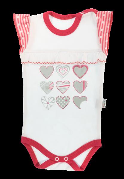 Dětské body na ramínka Mamatti Love Girl -  bílá/červená, vel. 98