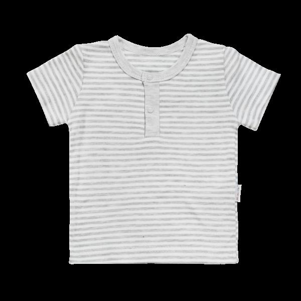 Bavlněné Polo tričko Mamatti Gentleman krátký rukáv - šedé, vel. 74