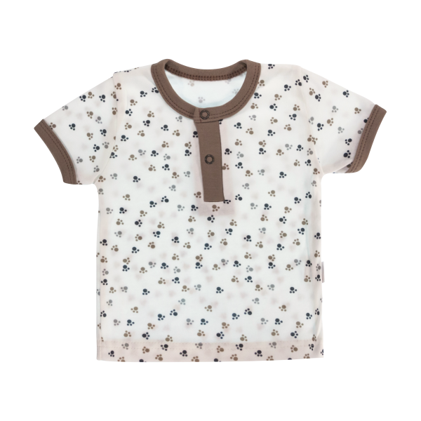 Bavlněné Polo tričko Mamatti Tlapka krátký rukáv - béžové/hnědé, vel. 80