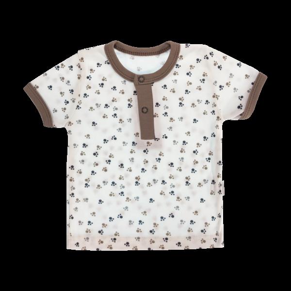 Bavlněné Polo tričko Mamatti Tlapka krátký rukáv - béžové/hnědé, vel. 92