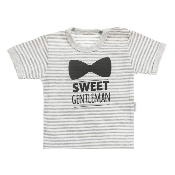 Bavlněné tričko Mamatti Gentleman krátký rukáv - šedé, vel. 86