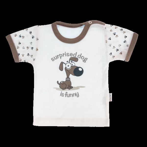 Bavlněné tričko Mamatti Tlapka krátký rukáv - béžové/hnědé, vel. 80