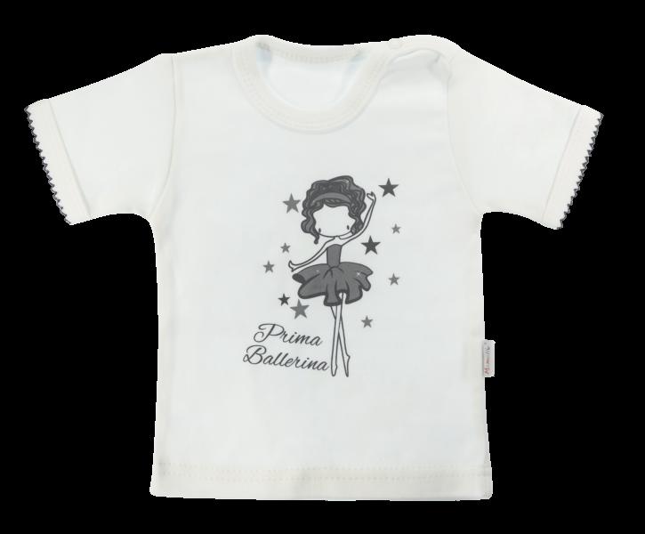 Bavlněné tričko Mamatti Baletka krátký rukáv - smetanové, vel. 86