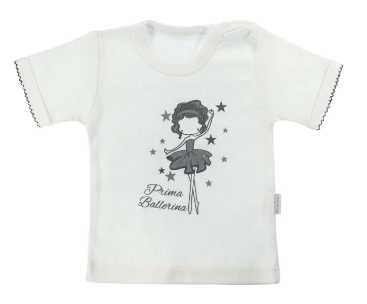 Bavlněné tričko Mamatti Baletka krátký rukáv - smetanové, vel. 98
