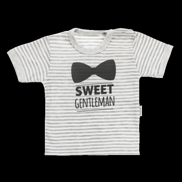 Bavlněné tričko Mamatti Gentleman krátký rukáv - šedé, vel. 98