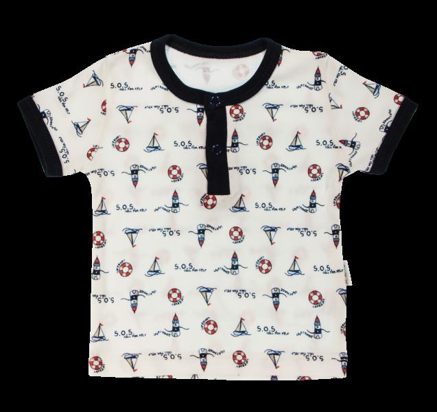 Bavlněné Polo tričko Mamatti Maják krátký rukáv - granátové, vel. 98