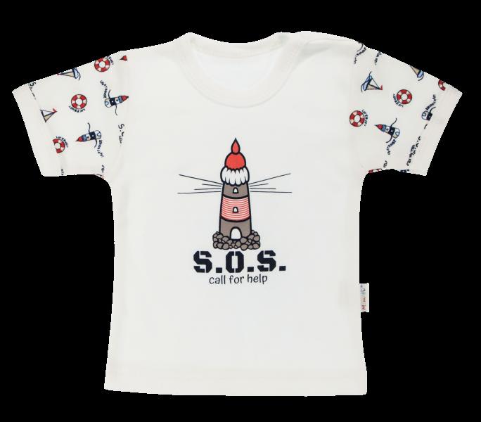 Bavlněné tričko Mamatti Maják krátký rukáv - bílé, vel. 92