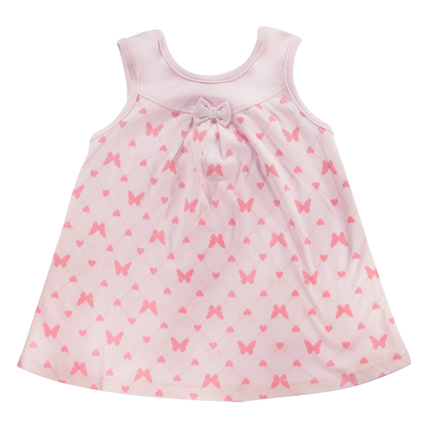 Bavlněné šatičky Mamatti na ramínka Motýlek srdíčko - růžové, vel. 92