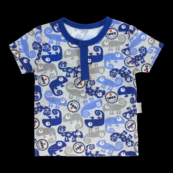 Bavlněné Polo tričko Mamatti Chameleon krátký rukáv - modré/šedé, vel. 98