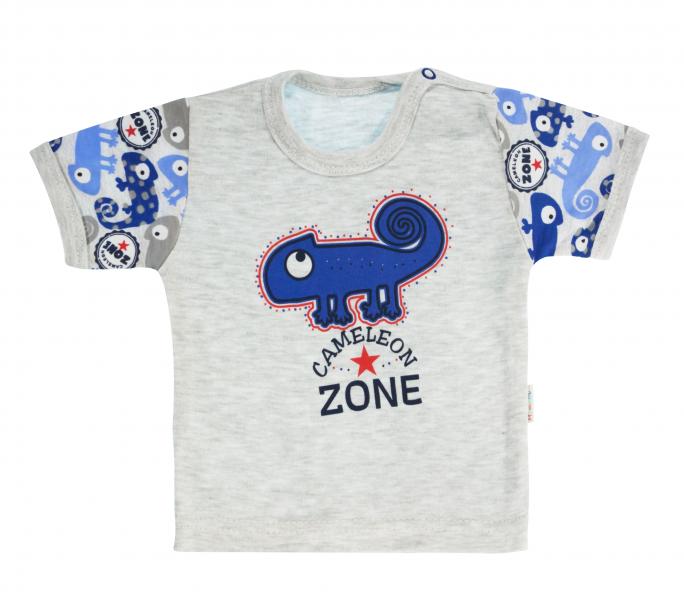 Bavlněné tričko Mamatti Chameleon krátký rukáv - šedé/modré, vel. 92