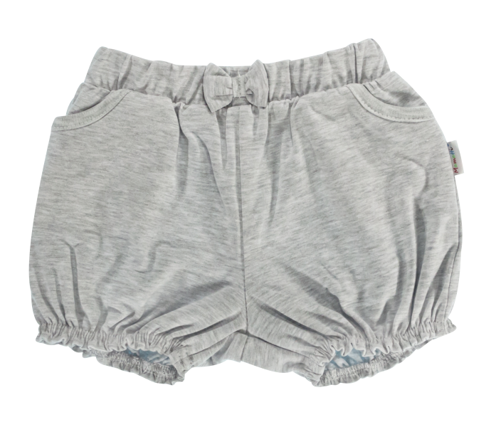 Kojenecké bavlněné kalhotky, kraťásky s mašlí Mamatti Bubble Boo - šedé, vel. 80vel. 80 (9-12m)