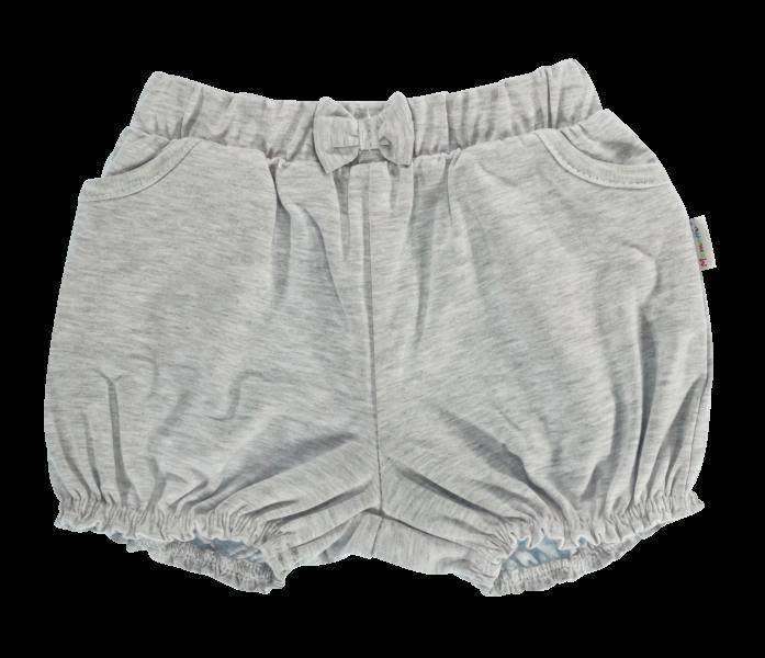 Kojenecké bavlněné kalhotky, kraťásky s mašlí Mamatti Bubble Boo - šedé, vel. 86vel. 86 (12-18m)