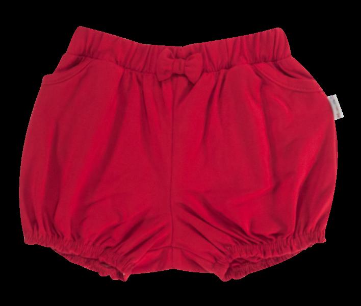 Kojenecké bavlněné kalhotky, kraťásky s mašlí Mamatti Love Girl - červené, vel. 80vel. 80 (9-12m)