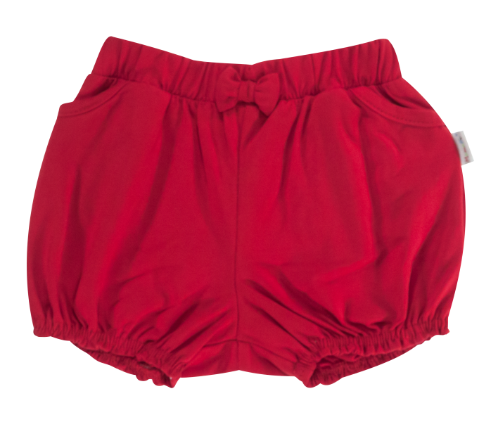 Dětské bavlněné kalhotky, kraťásky s mašlí Mamatti Love Girl - červené, vel. 92