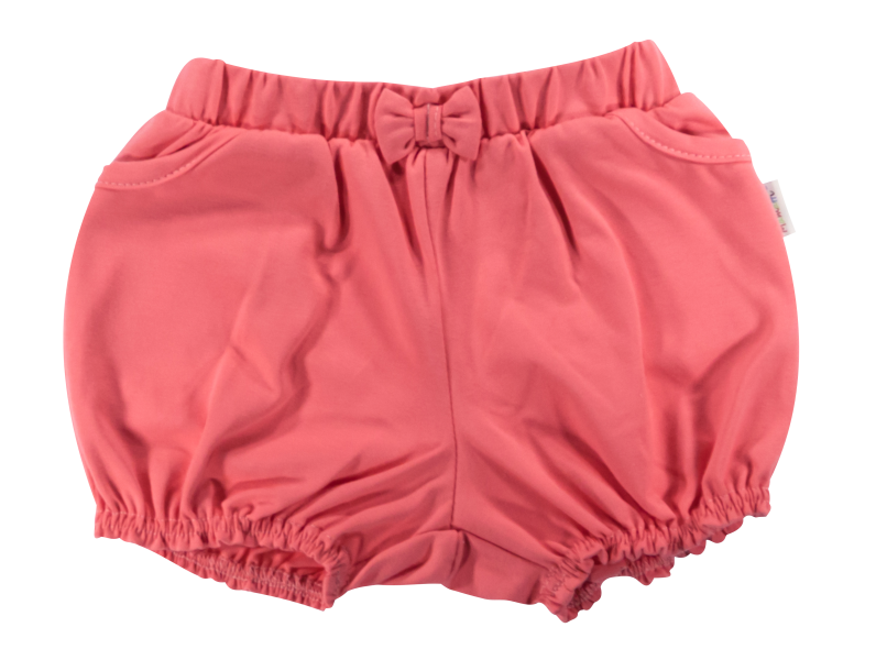 Kojenecké bavlněné kalhotky, kraťásky s mašlí Mamatti Baletka - korálové, vel. 80