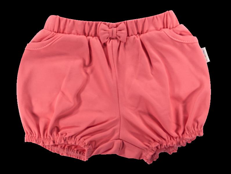 Kojenecké bavlněné kalhotky, kraťásky s mašlí Mamatti Baletka - korálové, vel. 98