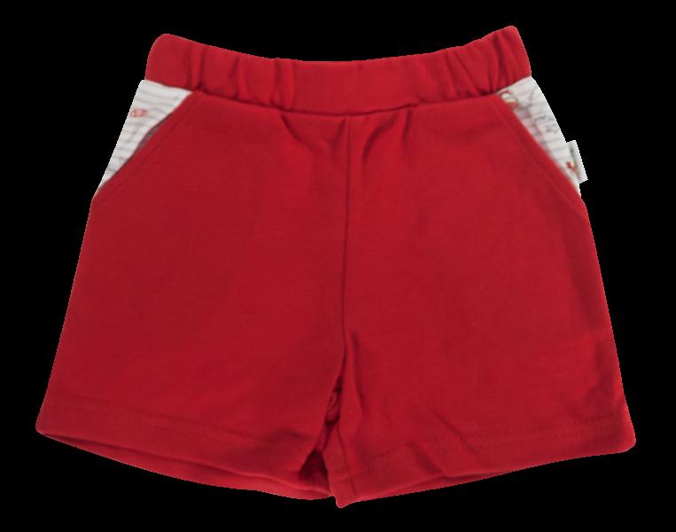 Kojenecké bavlněné kalhotky, kraťásky Mamatti Pirát - červené, vel. 98