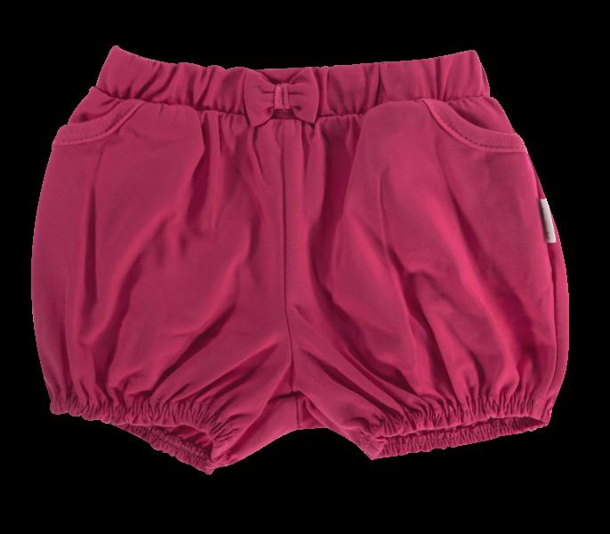 Kojenecké bavlněné kalhotky, kraťásky s mašlí Mamatti Motýlek srdíčko - vínové, vel. 104vel. 104
