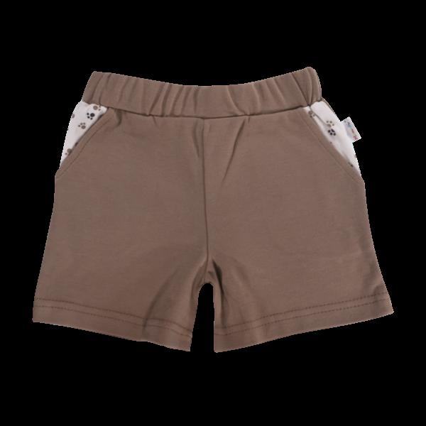 Kojenecké bavlněné kalhotky, kraťásky Mamatti Tlapka - hnědé, vel. 98