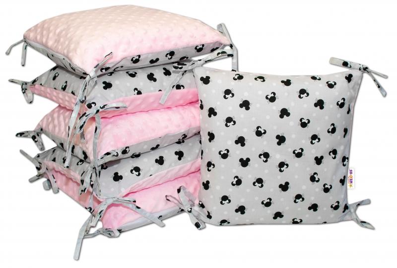 Polštářkový mantinel Baby Nellys, Minnie, minky - šedá/růžová