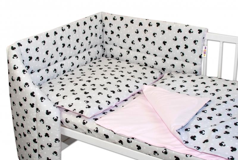3-dílná sada mantinel s povlečením Baby Nellys - Minnie, šedá/růžová, 135 x 100