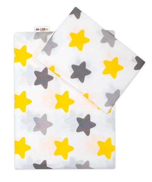 Baby Nellys 2 - dílné bavlněné povlečení Barevné hvězdičky - žluté/šedé, 135x100