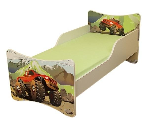 Dětská postel se zábranou Auto - 200x90 cm