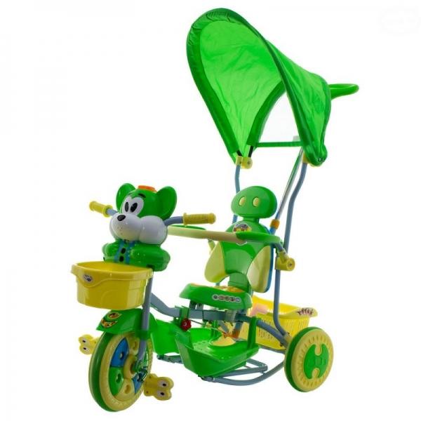 Euro Baby Dětská tříkolka s vodící tyčí Myška - zelená