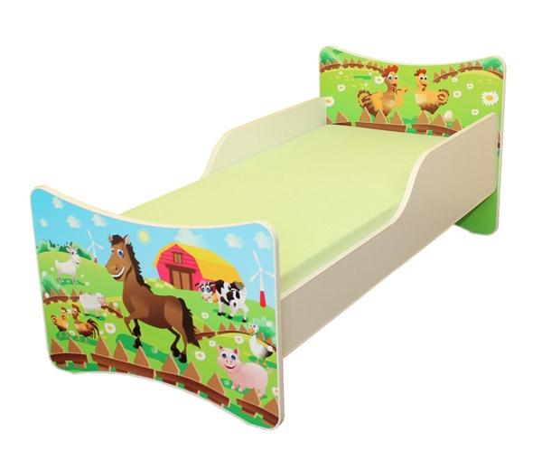 Dětská postel se zábranou Farma - 180x90 cm