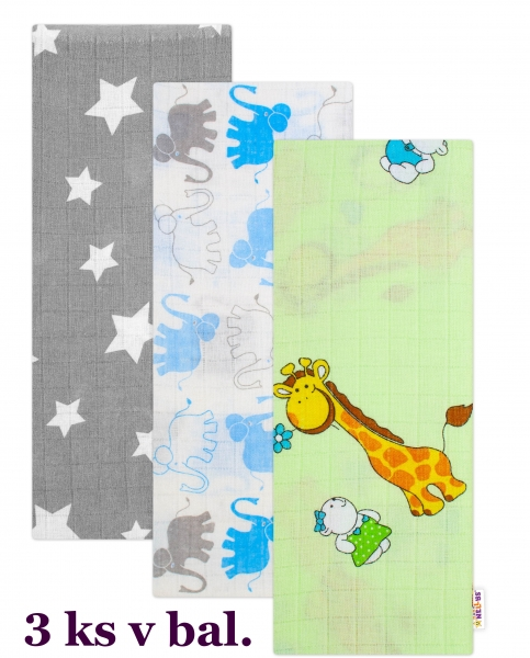 3 ks Kvalitní bavlněné plenky Baby Nellys s potiskem, Tetra LUX 70x80cm, Kluk - různé