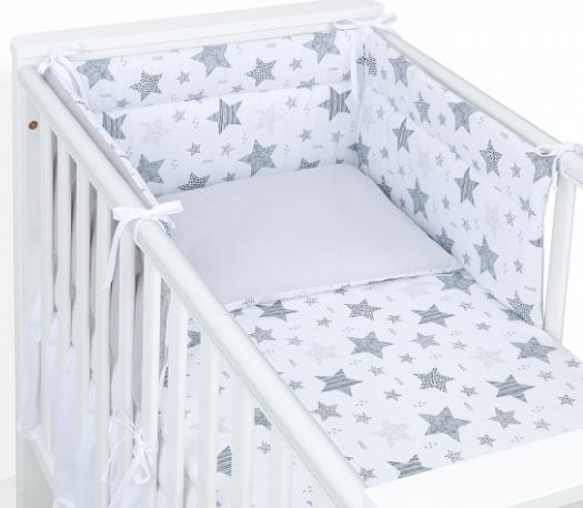 Mamo Tato 3-dílný set do postýlky s oboustranným mantinelem  - Starmix šedý, 135 x 100 cm