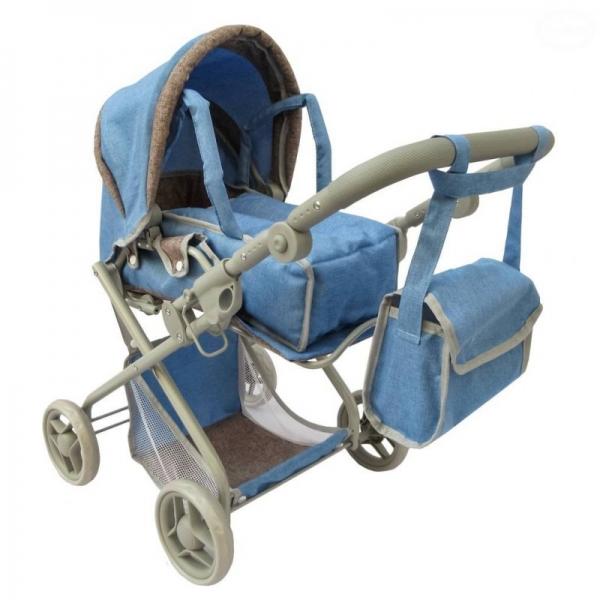 Hluboký kočárek pro panenky Euro Baby 2v1 - modrý