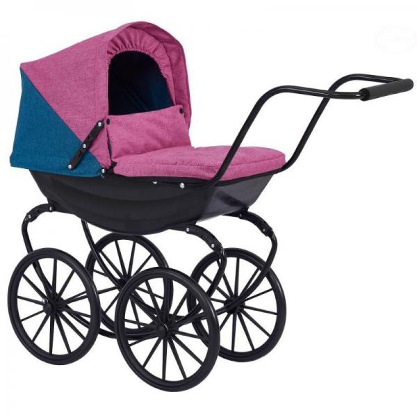Dětský kočárek pro panenky Euro Baby s retro koly  - fialový