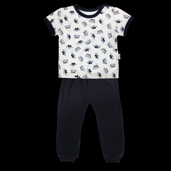 Bavlněné pyžamko Mamatti Princezna - krátký rukáv - granátové, vel. 86vel. 86 (12-18m)